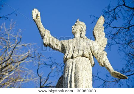 Ancient Angel On Sky Background