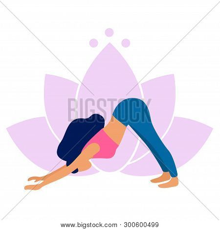 Woman Practicing Yoga Adho Mukha Svanasana Pose. Downward Facing Dog. Yoga Exercise On Lotus Backgro