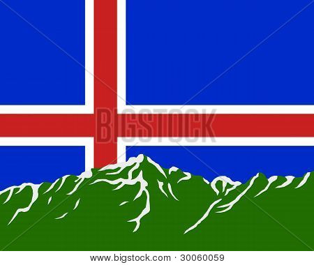 Mountains With Flag Of Iceland