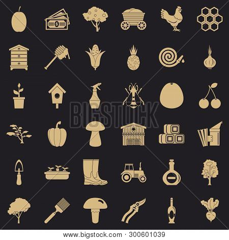 Hard Farming Icons Set. Simple Style Of 36 Hard Farming Vector Icons For Web For Any Design