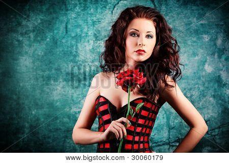 Portrait of a sexy beautiful woman posing at studio.