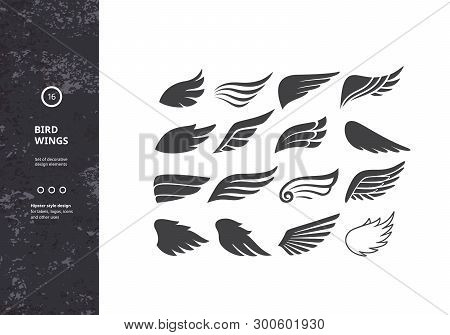 Bird Wings. Set Of Template Birds Arms. Vector Sign For Tattoos, Logos, Labels And Icons. Decorative
