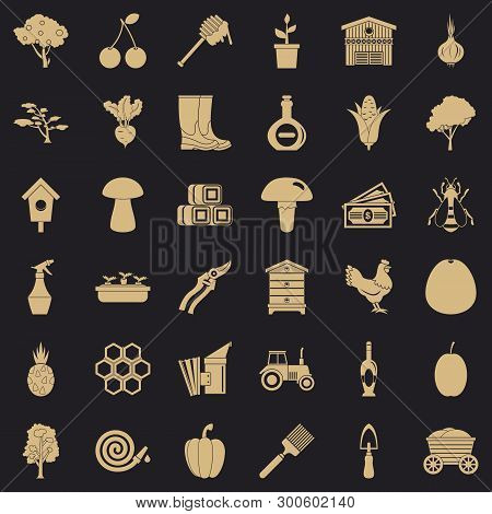 Land Icons Set. Simple Style Of 36 Land Vector Icons For Web For Any Design