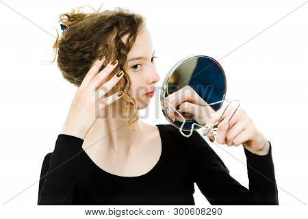 Teenaged Dressy Girl Checking Look In Mirror Her Curly Blond Hairs - To Be Perfect - White Backgroun