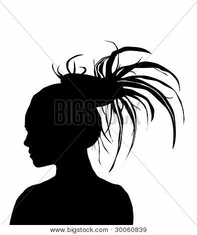 Dreadlock Girl Silhouette