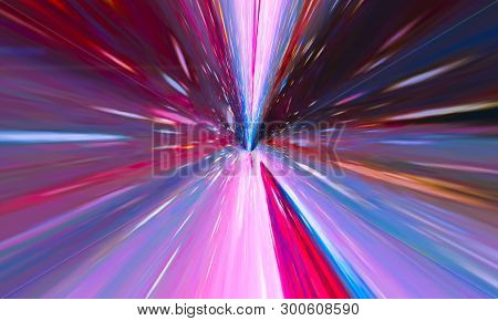 Flying Through Wormhole Tunnel Or Abstract Energy Vortex. Singularity, Gravitational Waves And Space