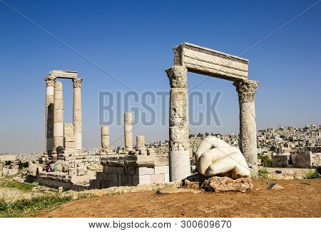 The Fallen Hand And The Temple Of Hercules On The Amman Citadel,  Jordan