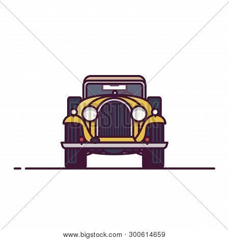 Front View Of Retro Classic Car From 30s. Line Style Vector Illustration. Old Vehicle Banner. Classi