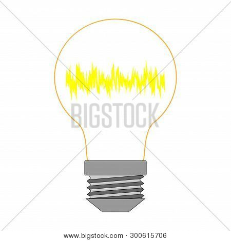 One Lamp Color On White Background Sign. Concept Illumination. Logo Of Power Or Inspiration. Idea Cr