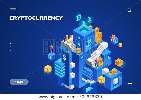 Isometric Illustration For Cryptocurrency And Blockchain Technology, Crypto Money And Financial Bloc