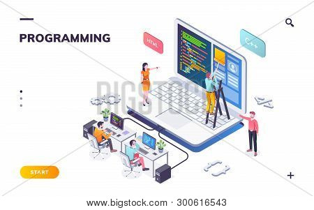 Programming Office With Developers And Notebook. Coders Or Programmers Writing Program. Landing Page