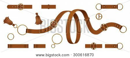 Set Of Isolated Man And Woman Leather Or Lethern Belt. Clasp And Chain, Tassel And Metallic Ring Str