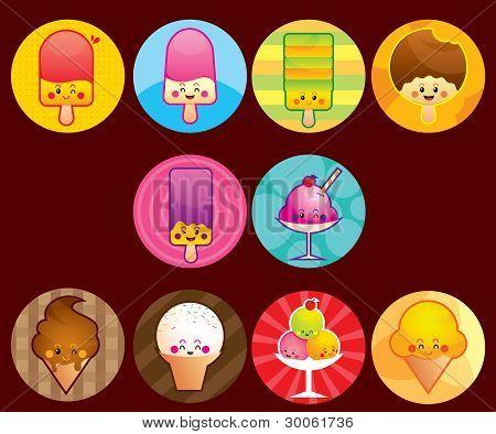cute ice cream buttons