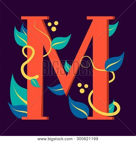 Letter symbol M. Design of logotype with leaf. Graphic design and branding, creative typescript. Abstract alphabet. poster