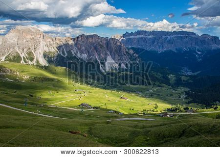 Breathtaking View Of Dolomites Landscape At Seceda Village In Italy.