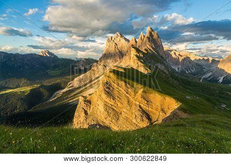 Famous Odle Mountain range at sunset, Seceda, Dolomite, Italy