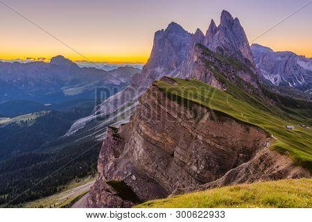 Beautiful sunrise and Odle Mountain landscape in Dolomites, Italy