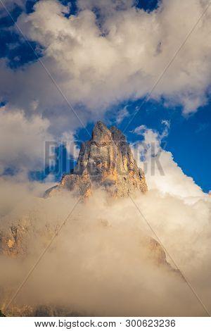 Dolomite mountain peak in Passo di Rolle, Italy.