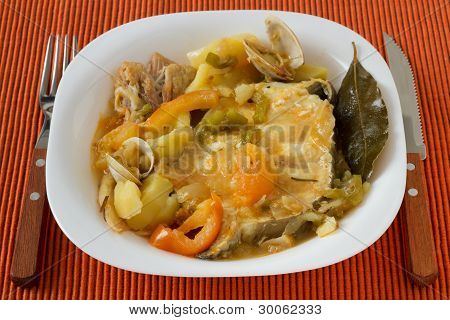 Fish Stew In The White Plate