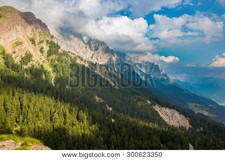 Dolomite mountain peak in Passo di Rolle, Italy
