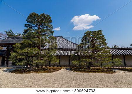 Beautiful Zen Garden In Tenryuji Temple In Arashiyama, Kyoto, Japan