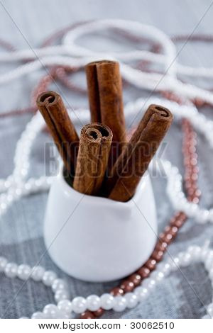 Cinnamon sticks in a white glass