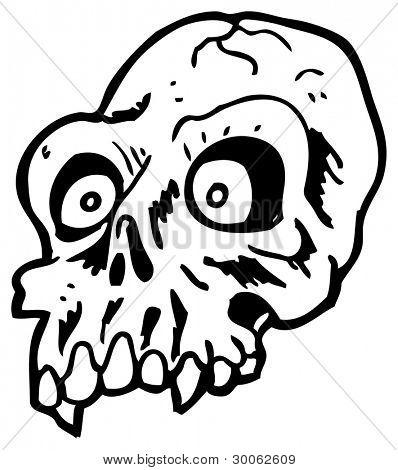 scary halloween skull cartoon