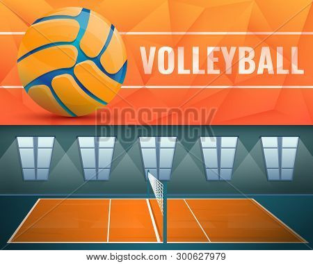 Volleyball Banner Set. Cartoon Illustration Of Volleyball Banner Set For Web Design