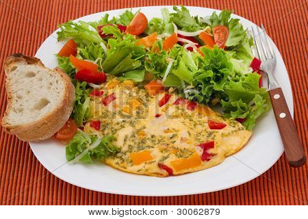 Omelet With Salad And Bread
