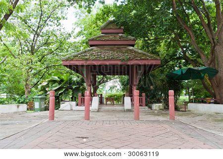 Wooden Pavilion In Park