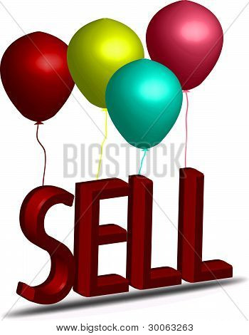 Sale Sign Hanging On Balloons