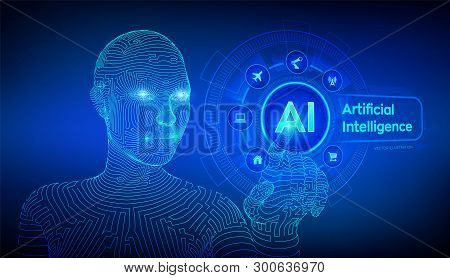 Ai. Artificial Intelligence. Machine Learning. Wireframed Female Cyborg Hand Touching Digital Graph