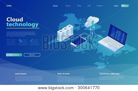 Concepts Cloud Storage. Online Computing Technology. 3d Servers And Data Center Connection Network.