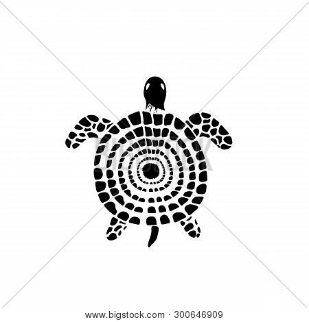 Stylized Sea Turtle In Doodle Style. Water Reptile.