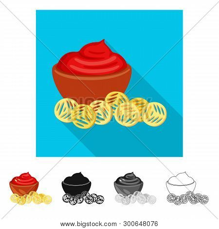 Isolated Object Of Snack And Croutons Logo. Set Of Snack And Bread Stock Vector Illustration.