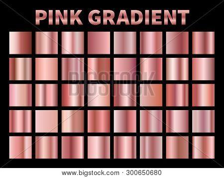 Pink Metallic Gradients. Golden Rose Gradient Foil, Shiny Roses Metallic Plate Border Frame Ribbon C