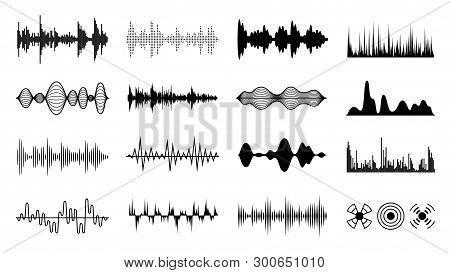 Sound Waves Set. Black Digital Radio Musical Wave. Audio Soundtrack Shapes. Player Pulse Amplitude F