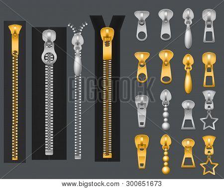 Metallic Zippers. Realistic Gold Silver Zipper, Closed Open Zip Pullers. Garment Coponents Zippered