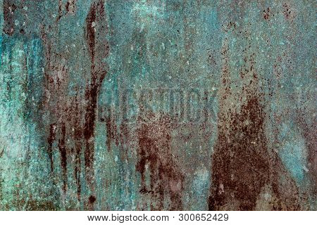Ancient Wall Texture With Patina Or Copper Oxide Stains. Grunge Rusty Background. Antique Surface St