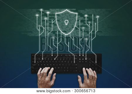 Internet, Online Network, Social Networking And Online Application Security System. Hand Typing On C