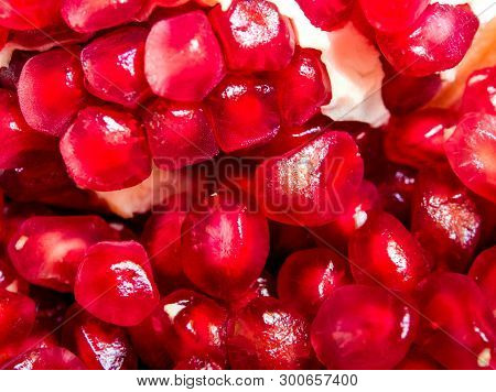 Full Frame Background Of Pomegranate Seeds As Fruit Background