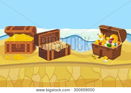 Treasure Island With Chest And Gold Coins And Jewellery Banner Vector Illustration. Expensive Access