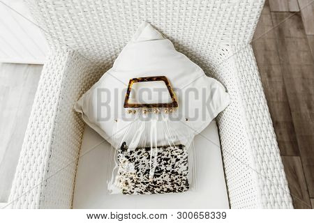 Fashionable Female Accessories: Cosmetic Bag With Animal Print And Transparent Bag. Shot From Above