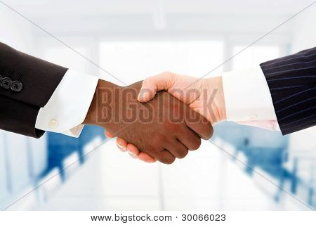 Closeup of a multiracial handshake between two business men at the office