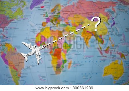 White Plain Is Flying To Unknown Destinatiun Around The World. Map Of The World