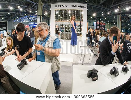 Moscow, Russia - April 11, 2019: Booth Of Sony Company At Photoforum 2019 Trade Show And Exhibition