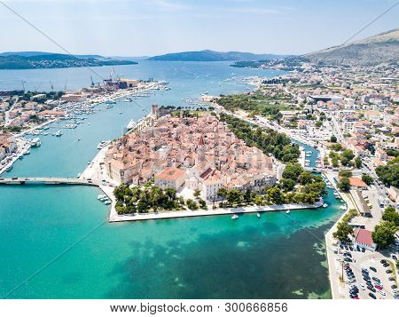 Aerial View Of Touristic Old Trogir, Historic Town On A Small Island And Harbour On The Adriatic Coa