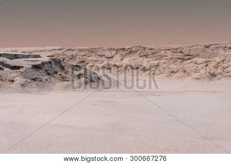 Background, Landscape - Martian Terrain With Traces Of Fluids On The Surface During A Dust Storm
