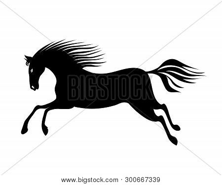 Galloping Horse With Waving Mane And Tail. Hand Drawing Black Silhouette Vector Image.