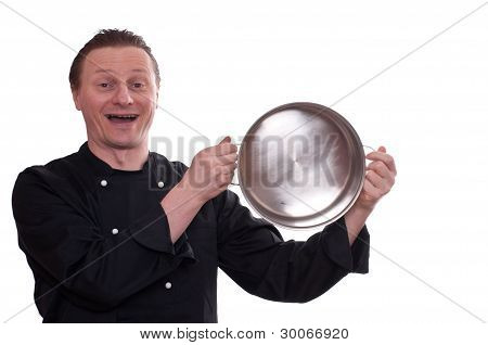 Laughing Cook Is Upholding A Pot